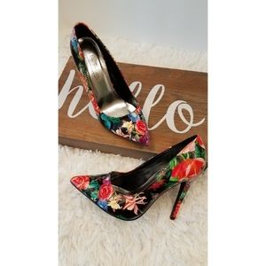 Hot Tomato Floral Heels